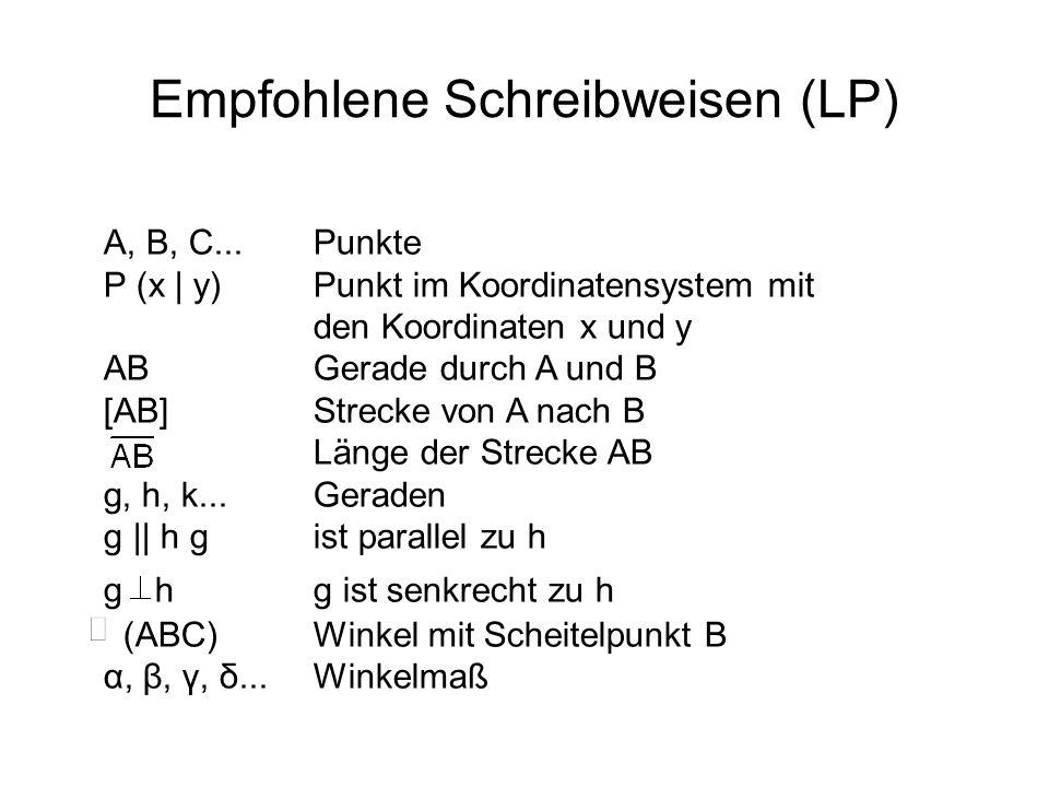 Empfohlene Schreibweisen (LP) A, B, C... Punkte P (x | y) Punkt im Koordinatensystem mit den Koordinaten x und y AB Gerade durch A und B [AB] Strecke