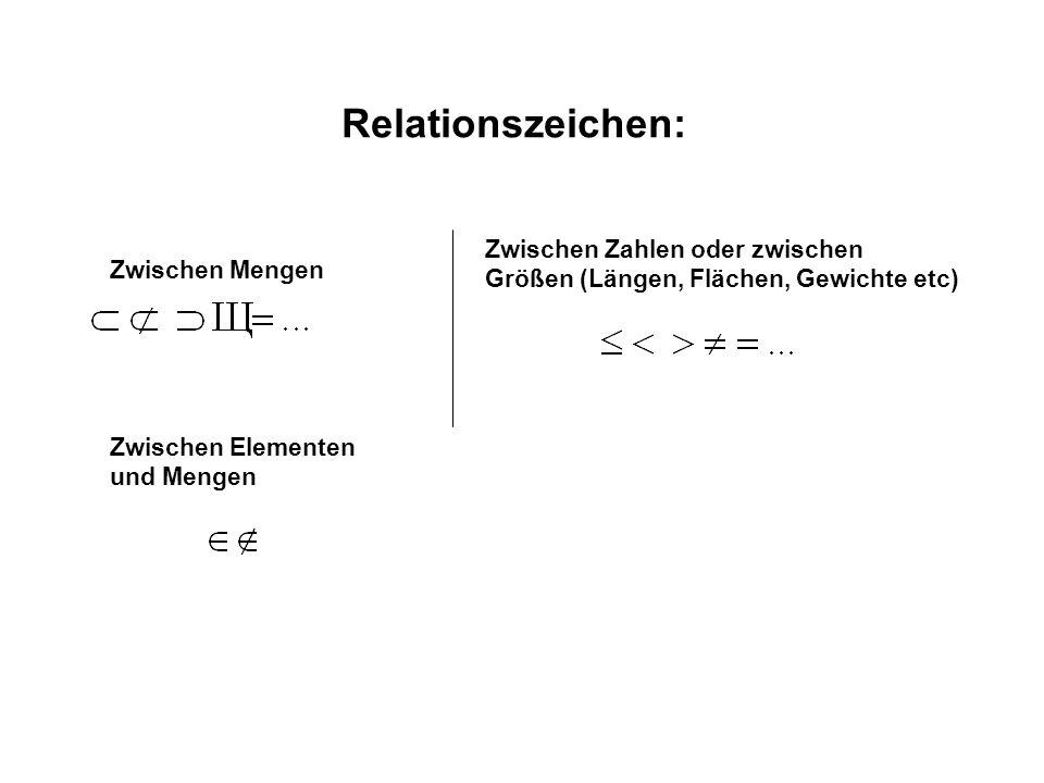 Relationszeichen: Zwischen Mengen Zwischen Zahlen oder zwischen Größen (Längen, Flächen, Gewichte etc) Zwischen Elementen und Mengen