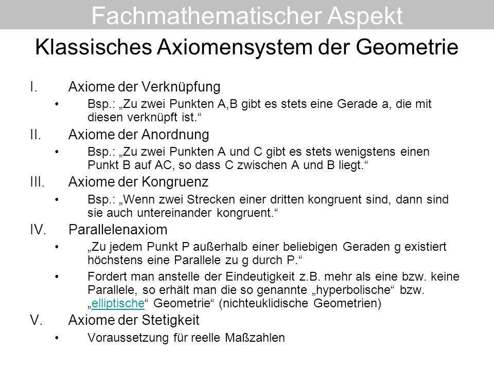 Klassisches Axiomensystem der Geometrie I.Axiome der Verknüpfung Bsp.: Zu zwei Punkten A,B gibt es stets eine Gerade a, die mit diesen verknüpft ist.