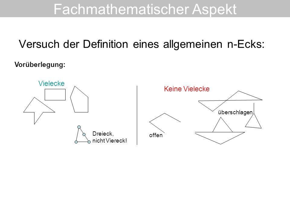 Versuch der Definition eines allgemeinen n-Ecks: Fachmathematischer Aspekt Vielecke Keine Vielecke Dreieck, nicht Viereck! offen überschlagen Vorüberl