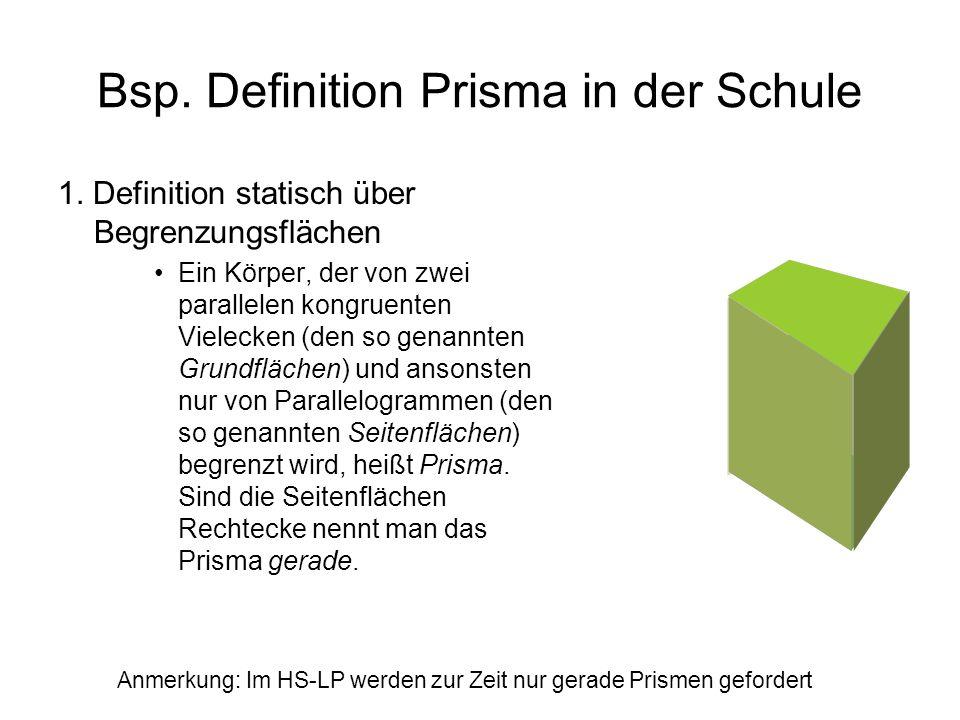Bsp. Definition Prisma in der Schule 1. Definition statisch über Begrenzungsflächen Ein Körper, der von zwei parallelen kongruenten Vielecken (den so