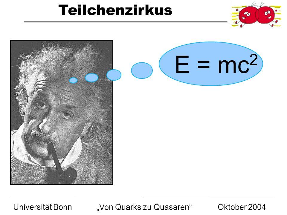 Teilchenzirkus Universität BonnVon Quarks zu Quasaren Oktober 2004 E = mc 2