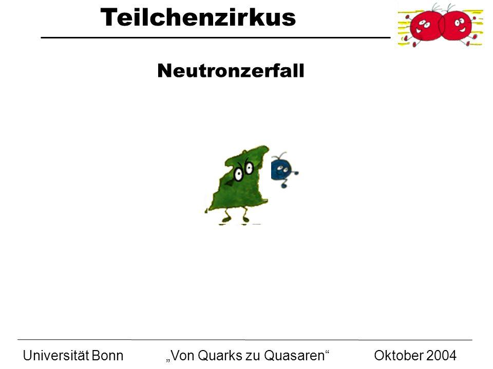 Teilchenzirkus Universität BonnVon Quarks zu Quasaren Oktober 2004 Neutronzerfall