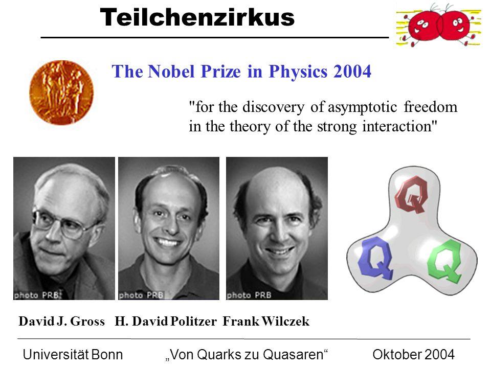 Teilchenzirkus Universität BonnVon Quarks zu Quasaren Oktober 2004 David J. Gross H. David Politzer Frank Wilczek