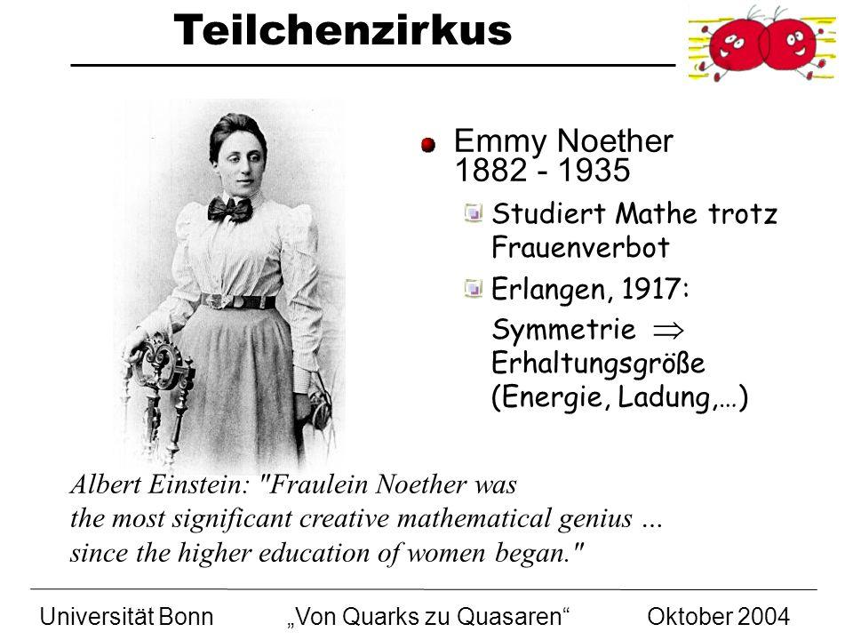 Teilchenzirkus Universität BonnVon Quarks zu Quasaren Oktober 2004 Emmy Noether 1882 - 1935 Studiert Mathe trotz Frauenverbot Erlangen, 1917: Symmetri