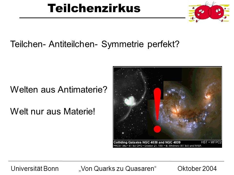 Teilchenzirkus Universität BonnVon Quarks zu Quasaren Oktober 2004 Teilchen- Antiteilchen- Symmetrie perfekt? Welten aus Antimaterie? Welt nur aus Mat