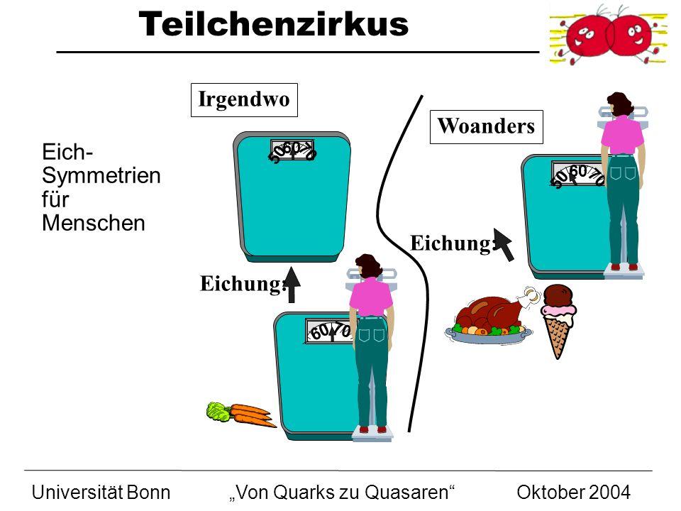 Teilchenzirkus Universität BonnVon Quarks zu Quasaren Oktober 2004 50 70 60 50 70 60 50 70 60 Irgendwo Eichung: Woanders Eich- Symmetrien für Menschen