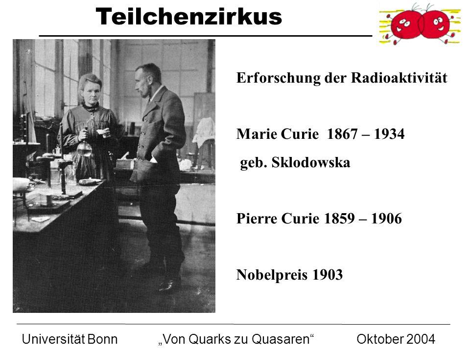 Teilchenzirkus Universität BonnVon Quarks zu Quasaren Oktober 2004 Erforschung der Radioaktivität Marie Curie 1867 – 1934 geb. Sklodowska Pierre Curie