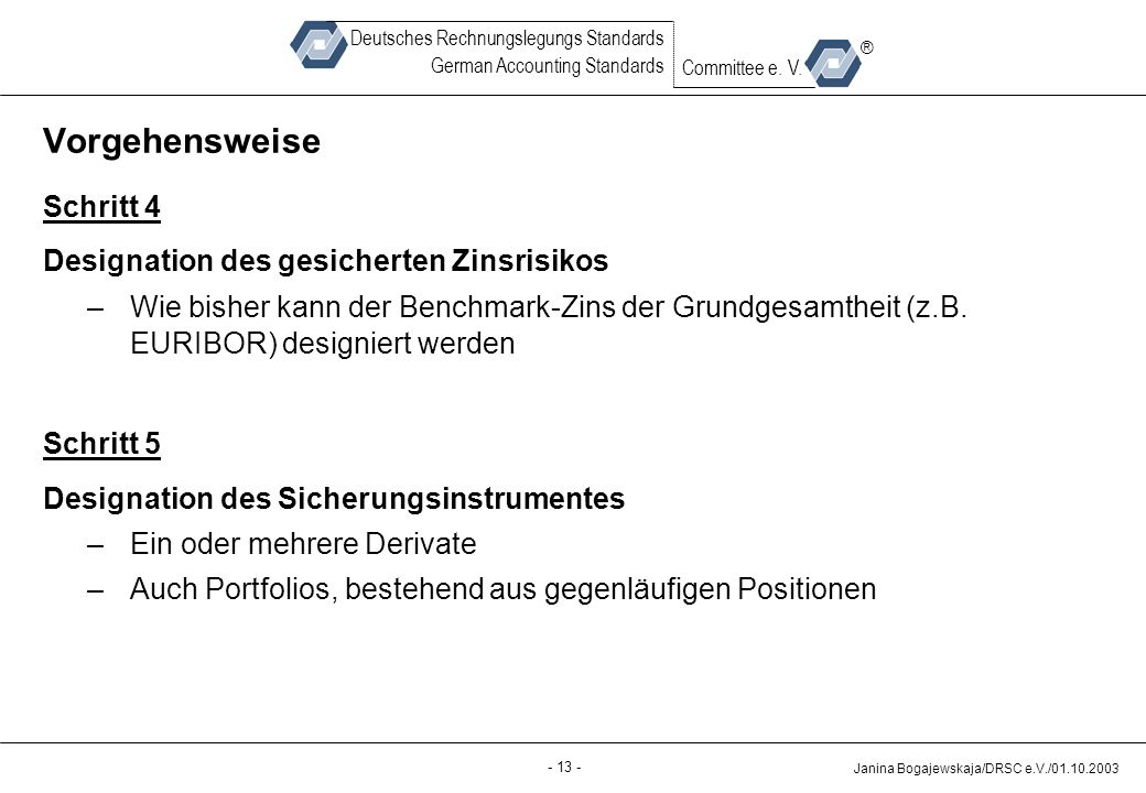 Back-up - 13 - Janina Bogajewskaja/DRSC e.V./01.10.2003 Deutsches Rechnungslegungs Standards German Accounting Standards Committee e. V. ® Vorgehenswe