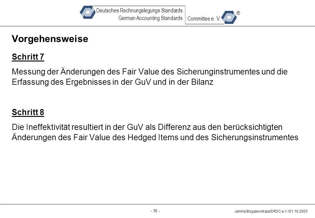 Back-up - 16 - Janina Bogajewskaja/DRSC e.V./01.10.2003 Deutsches Rechnungslegungs Standards German Accounting Standards Committee e.