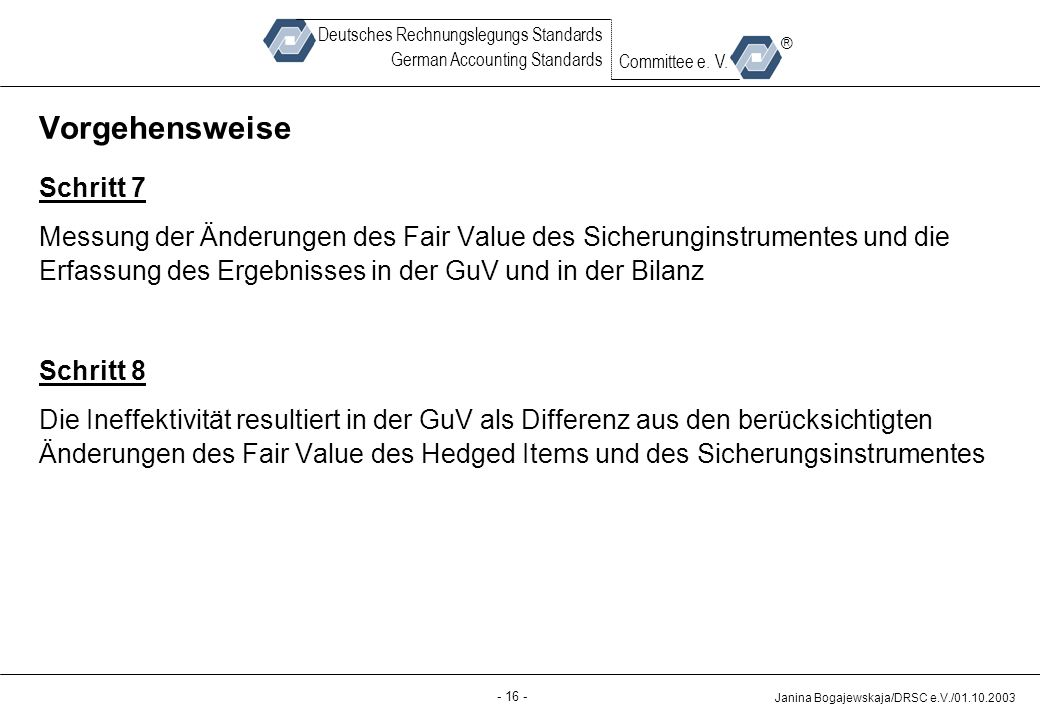 Back-up - 16 - Janina Bogajewskaja/DRSC e.V./01.10.2003 Deutsches Rechnungslegungs Standards German Accounting Standards Committee e. V. ® Vorgehenswe
