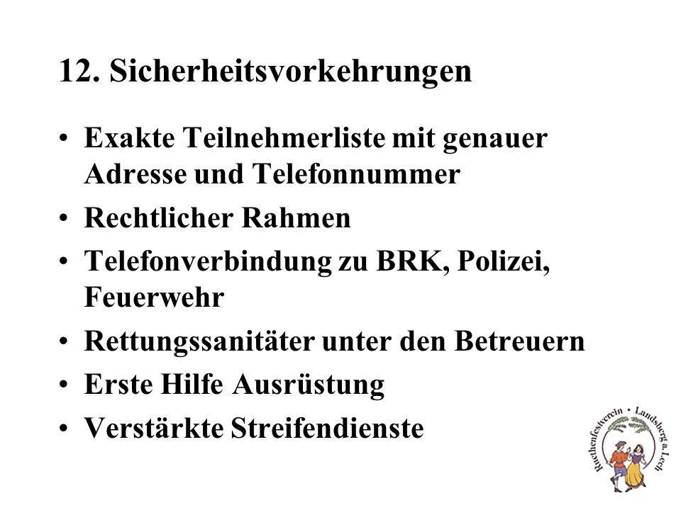 12. Sicherheitsvorkehrungen Exakte Teilnehmerliste mit genauer Adresse und Telefonnummer Rechtlicher Rahmen Telefonverbindung zu BRK, Polizei, Feuerwe