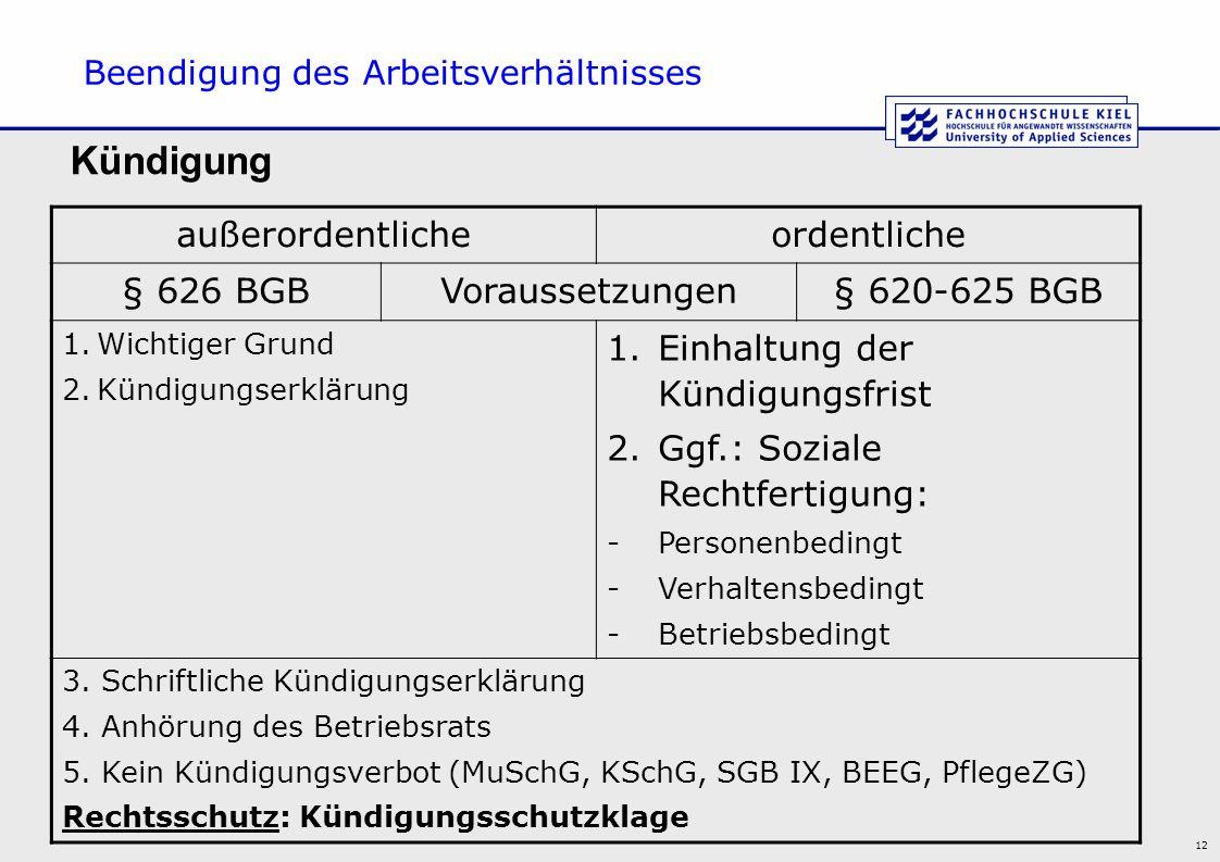 12 Beendigung des Arbeitsverhältnisses außerordentlicheordentliche § 626 BGBVoraussetzungen§ 620-625 BGB 1.Wichtiger Grund 2.Kündigungserklärung 1.Ein