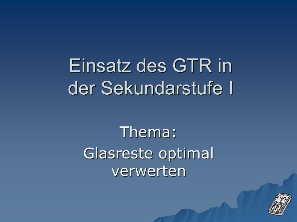 Einsatz des GTR in der Sekundarstufe I Thema: Glasreste optimal verwerten