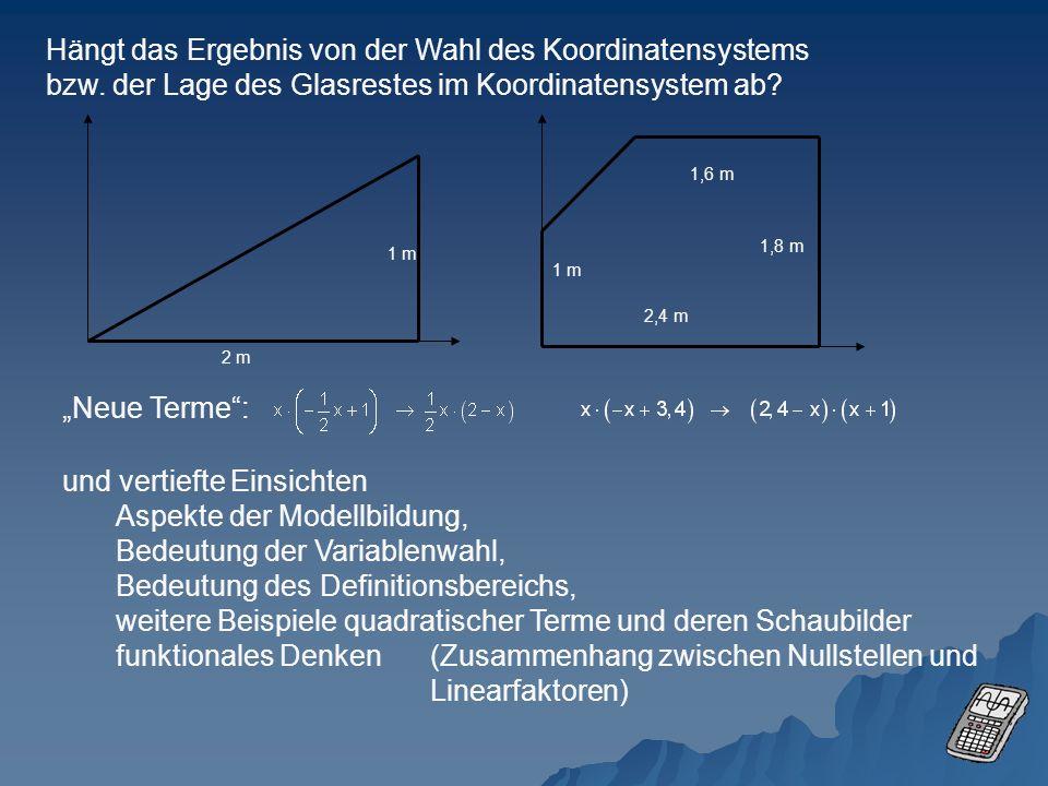 Hängt das Ergebnis von der Wahl des Koordinatensystems bzw. der Lage des Glasrestes im Koordinatensystem ab? 2 m 1 m 2,4 m 1 m 1,8 m 1,6 m Neue Terme: