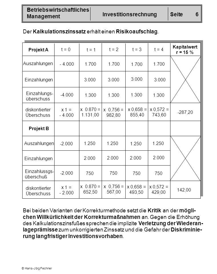 Betriebswirtschaftliches Management InvestitionsrechnungSeite 6 © Hans-Jörg Fechner Der Kalkulationszinssatz erhält einen Risikoaufschlag. Projekt A t