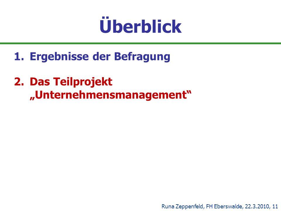 Überblick 1.Ergebnisse der Befragung 2.Das Teilprojekt Unternehmensmanagement Runa Zeppenfeld, FH Eberswalde, 22.3.2010, 11