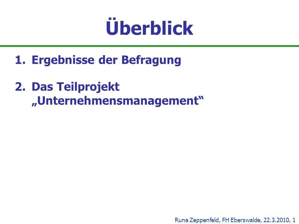 Überblick 1.Ergebnisse der Befragung 2.Das Teilprojekt Unternehmensmanagement Runa Zeppenfeld, FH Eberswalde, 22.3.2010, 1