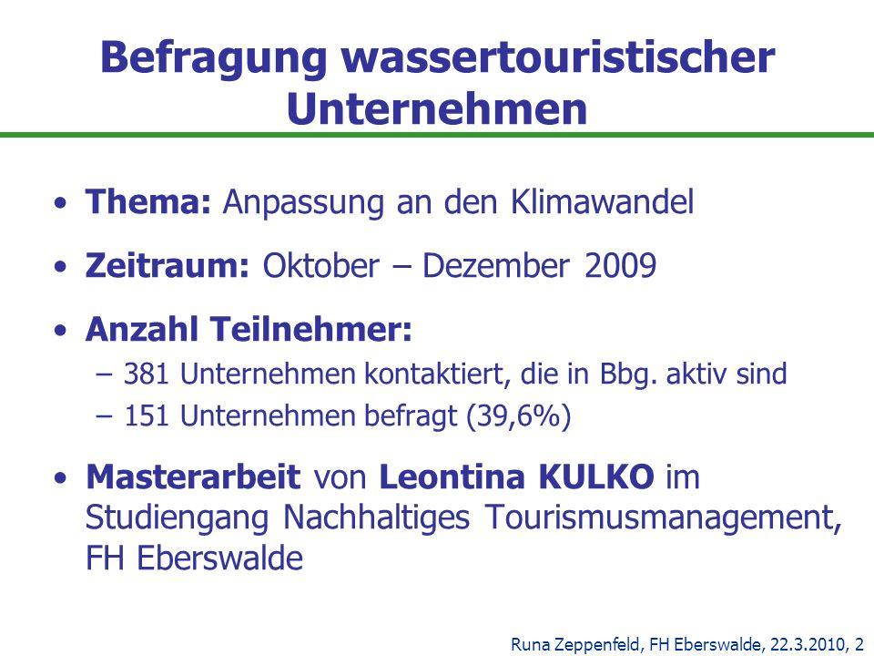 Befragung wassertouristischer Unternehmen Thema: Anpassung an den Klimawandel Zeitraum: Oktober – Dezember 2009 Anzahl Teilnehmer: –381 Unternehmen ko