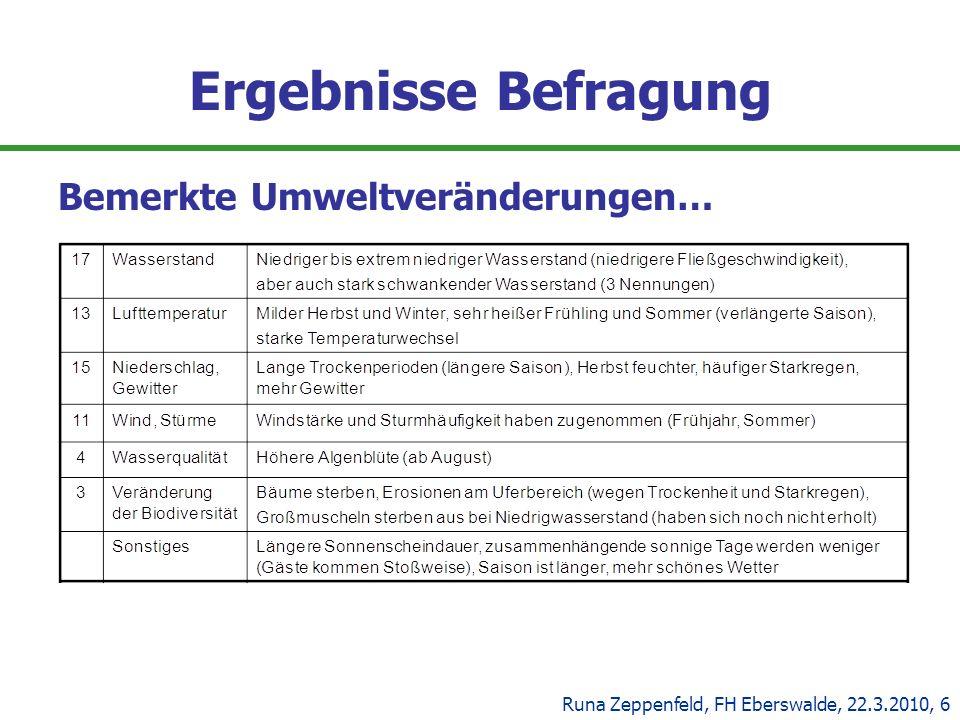 Ergebnisse Befragung Bemerkte Umweltveränderungen… Runa Zeppenfeld, FH Eberswalde, 22.3.2010, 6