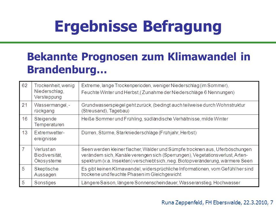 Ergebnisse Befragung Bekannte Prognosen zum Klimawandel in Brandenburg… Runa Zeppenfeld, FH Eberswalde, 22.3.2010, 7