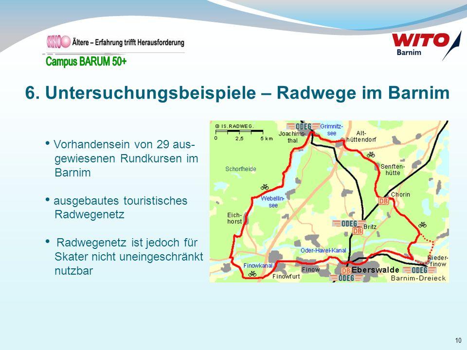 10 Vorhandensein von 29 aus- gewiesenen Rundkursen im Barnim ausgebautes touristisches Radwegenetz Radwegenetz ist jedoch für Skater nicht uneingeschr