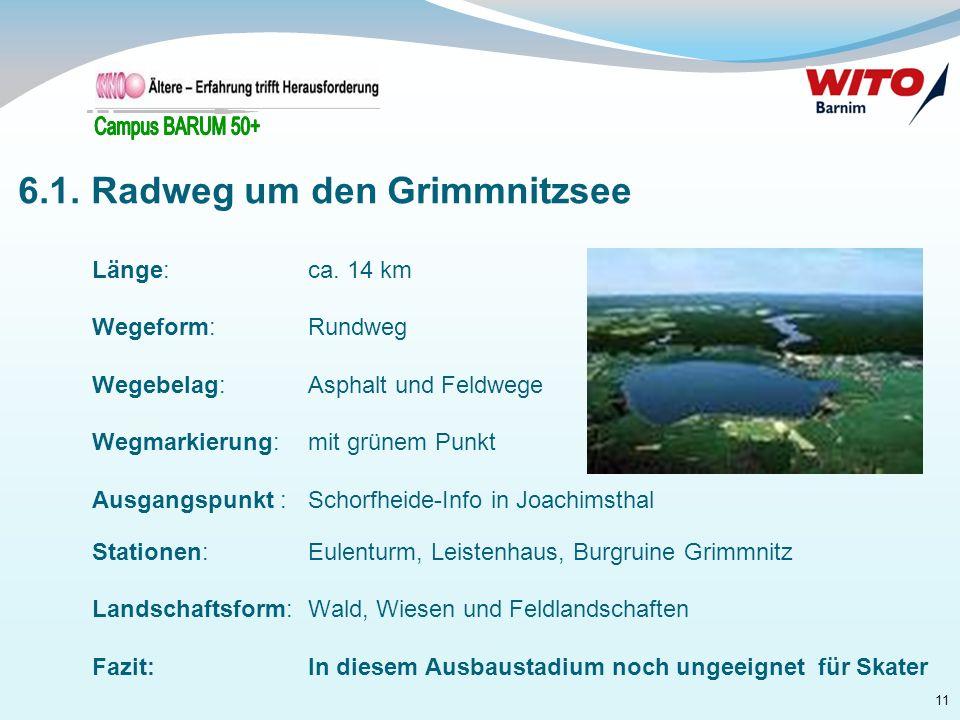 11 Länge:ca. 14 km Wegeform: Rundweg Wegebelag: Asphalt und Feldwege Wegmarkierung:mit grünem Punkt Ausgangspunkt :Schorfheide-Info in Joachimsthal St