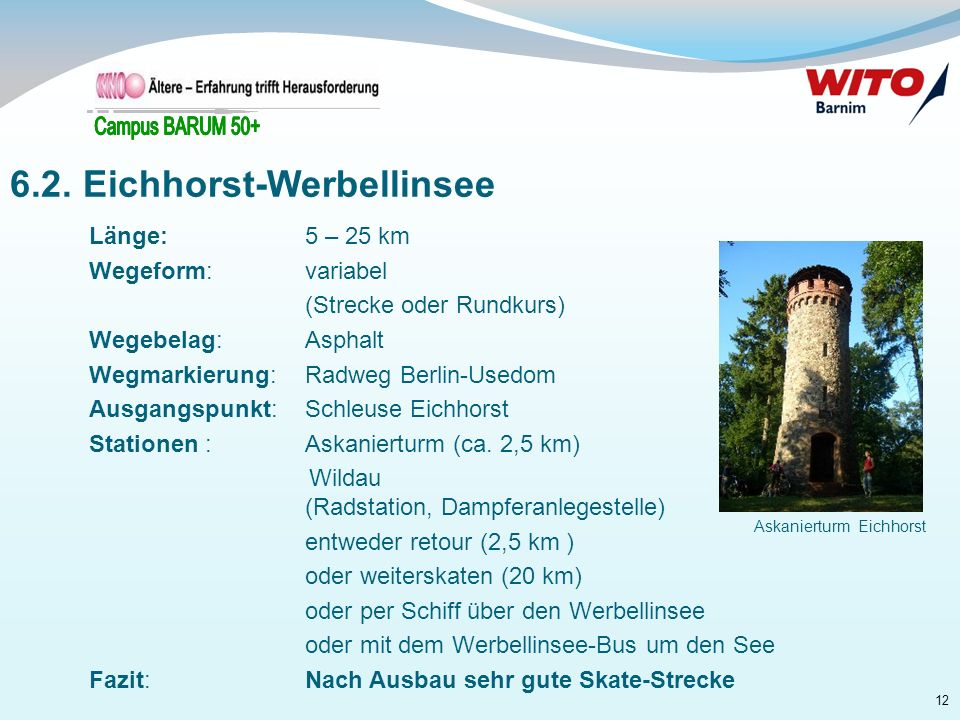 12 Länge: 5 – 25 km Wegeform: variabel (Strecke oder Rundkurs) Wegebelag: Asphalt Wegmarkierung:Radweg Berlin-Usedom Ausgangspunkt: Schleuse Eichhorst