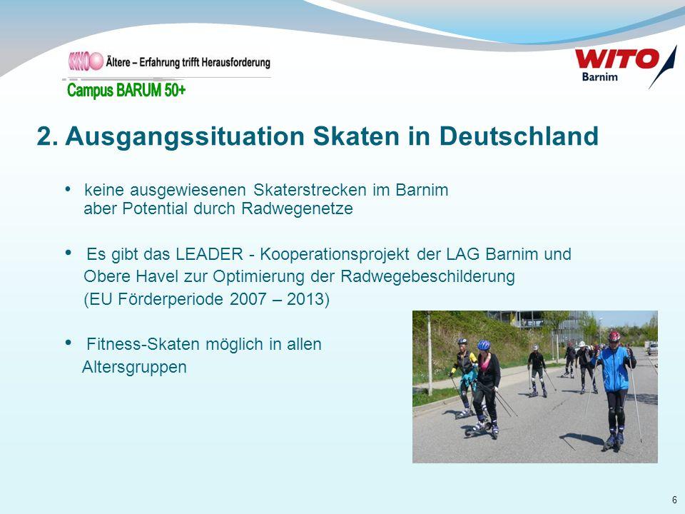 6 keine ausgewiesenen Skaterstrecken im Barnim aber Potential durch Radwegenetze Es gibt das LEADER - Kooperationsprojekt der LAG Barnim und Obere Hav
