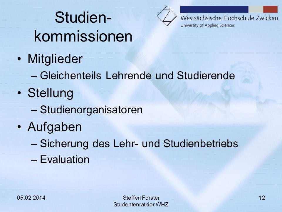 Studien- kommissionen Mitglieder –Gleichenteils Lehrende und Studierende Stellung –Studienorganisatoren Aufgaben –Sicherung des Lehr- und Studienbetri
