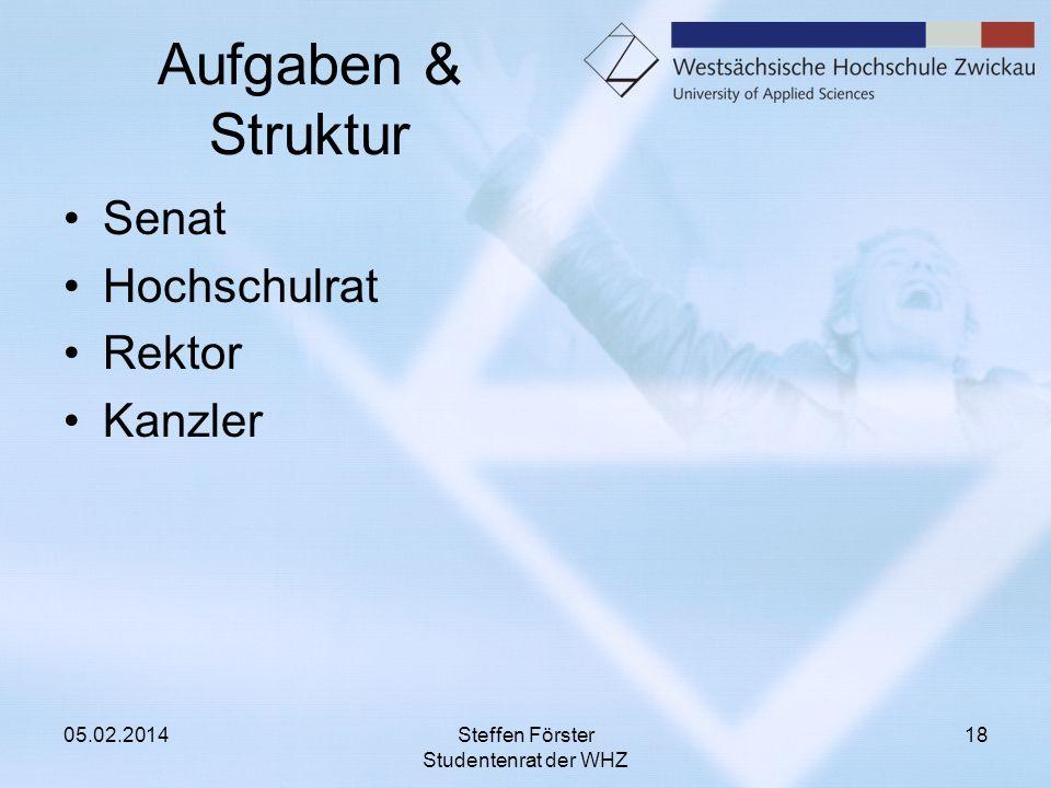 Aufgaben & Struktur Senat Hochschulrat Rektor Kanzler 05.02.2014Steffen Förster Studentenrat der WHZ 18