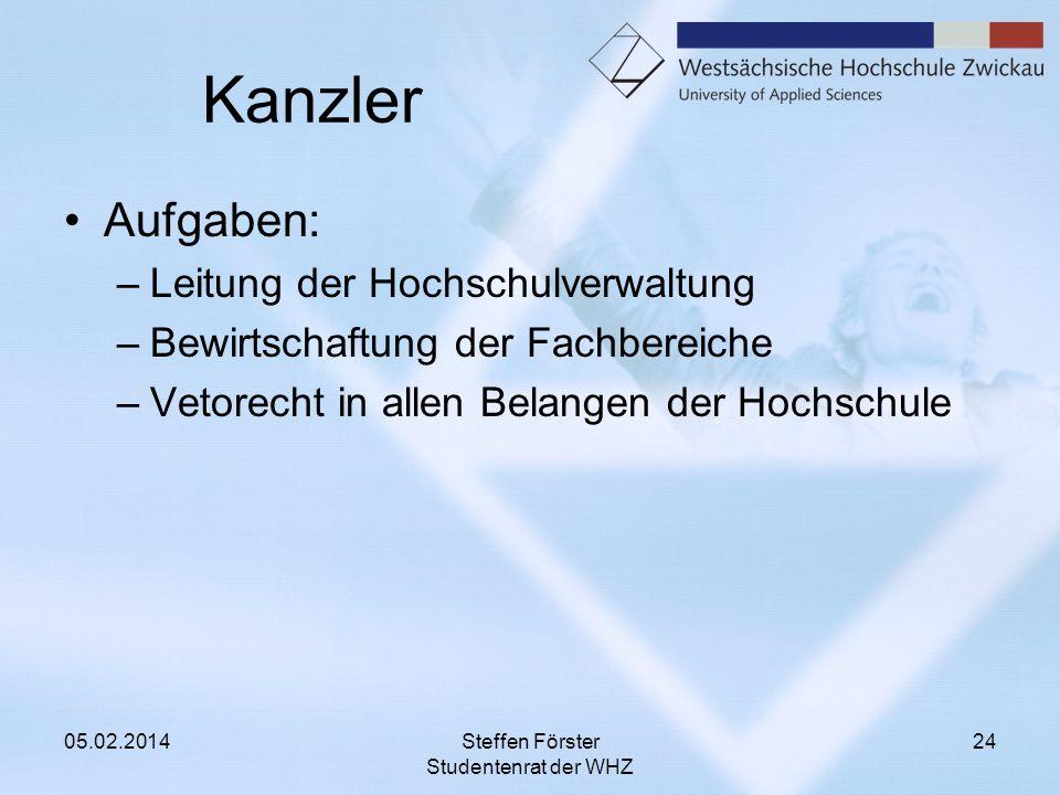 Kanzler Aufgaben: –Leitung der Hochschulverwaltung –Bewirtschaftung der Fachbereiche –Vetorecht in allen Belangen der Hochschule 05.02.2014Steffen För
