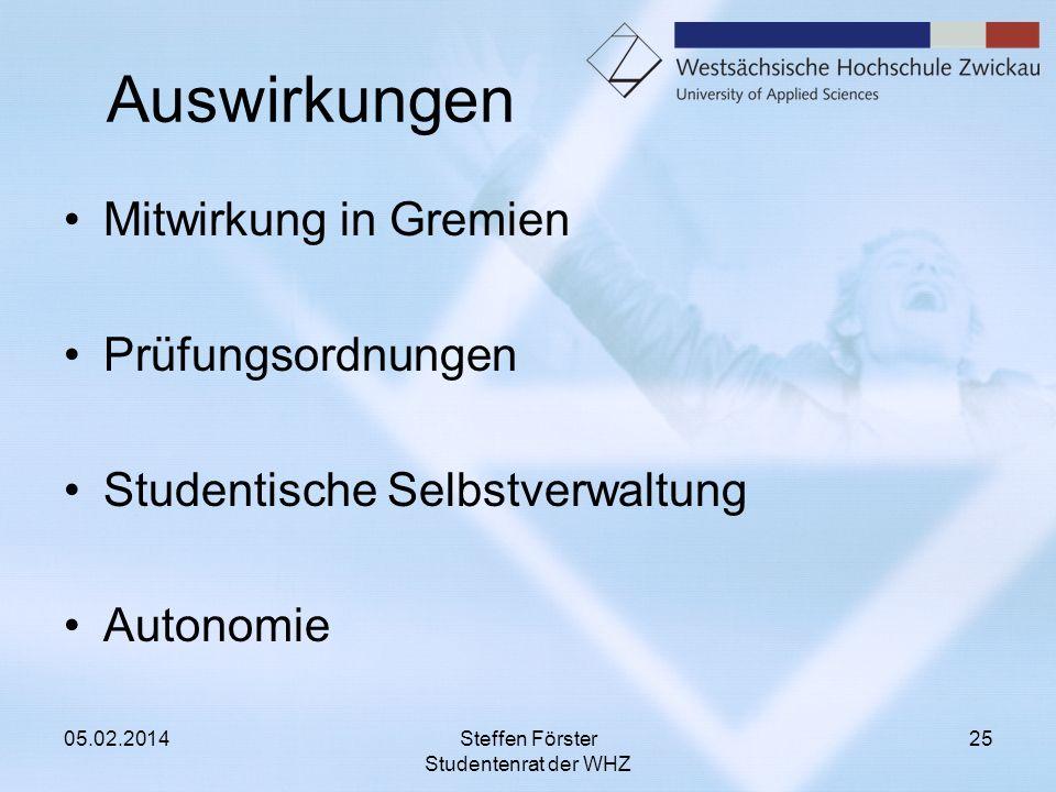 Auswirkungen Mitwirkung in Gremien Prüfungsordnungen Studentische Selbstverwaltung Autonomie 05.02.2014Steffen Förster Studentenrat der WHZ 25