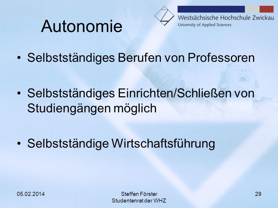 Autonomie Selbstständiges Berufen von Professoren Selbstständiges Einrichten/Schließen von Studiengängen möglich Selbstständige Wirtschaftsführung 05.