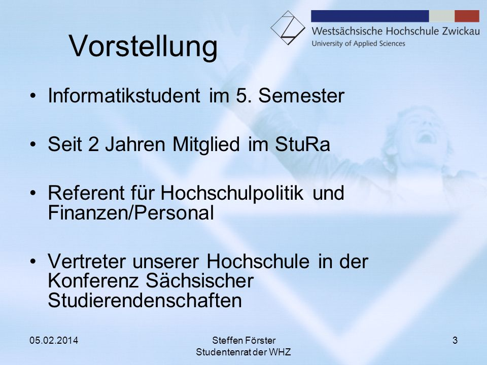 Vorstellung Informatikstudent im 5. Semester Seit 2 Jahren Mitglied im StuRa Referent für Hochschulpolitik und Finanzen/Personal Vertreter unserer Hoc