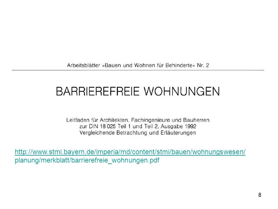 9 Die barrierefreie Wohnung Die Anforderungen an eine barrierefreie Wohnung sind in der Planungsnorm DIN 18025 festgelegt.