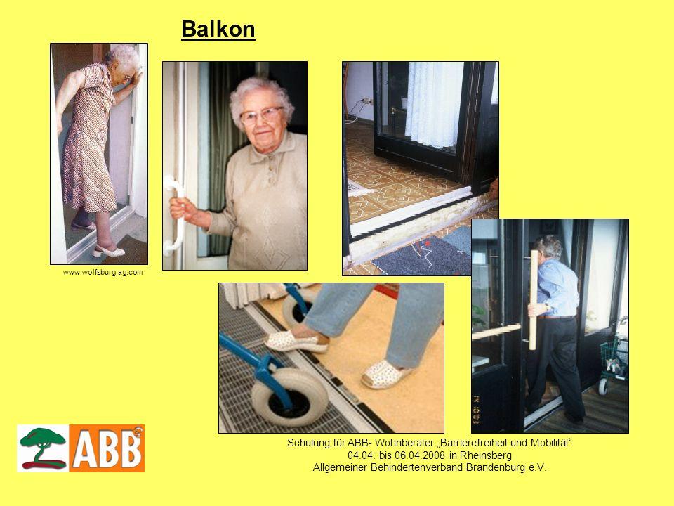 Schulung für ABB- Wohnberater Barrierefreiheit und Mobilität 04.04. bis 06.04.2008 in Rheinsberg Allgemeiner Behindertenverband Brandenburg e.V. www.w