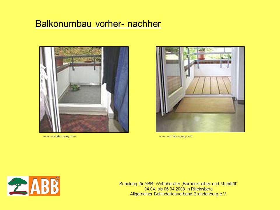 Schulung für ABB- Wohnberater Barrierefreiheit und Mobilität 04.04. bis 06.04.2008 in Rheinsberg Allgemeiner Behindertenverband Brandenburg e.V. Balko