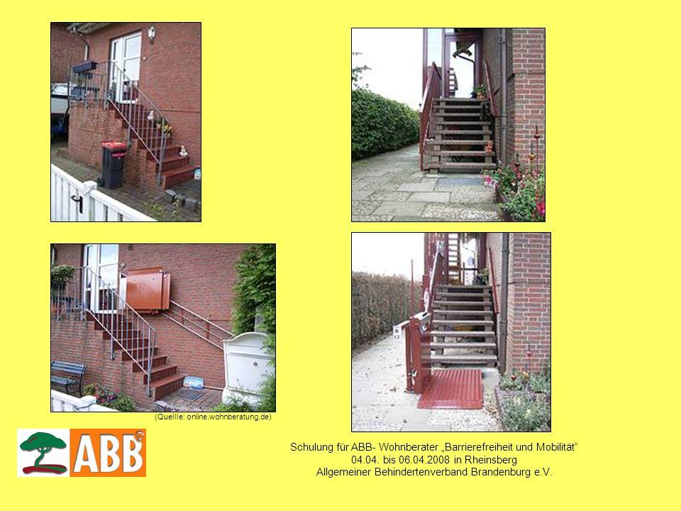 Schulung für ABB- Wohnberater Barrierefreiheit und Mobilität 04.04. bis 06.04.2008 in Rheinsberg Allgemeiner Behindertenverband Brandenburg e.V. (Quel