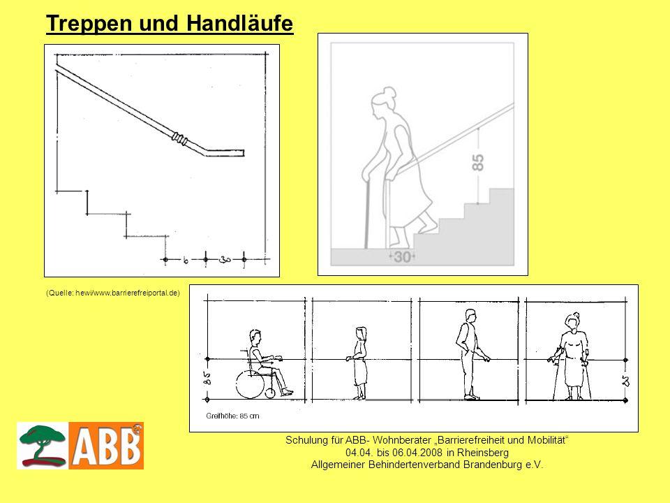 Schulung für ABB- Wohnberater Barrierefreiheit und Mobilität 04.04. bis 06.04.2008 in Rheinsberg Allgemeiner Behindertenverband Brandenburg e.V. Trepp