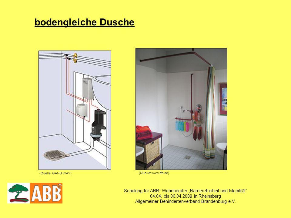 Schulung für ABB- Wohnberater Barrierefreiheit und Mobilität 04.04. bis 06.04.2008 in Rheinsberg Allgemeiner Behindertenverband Brandenburg e.V. boden