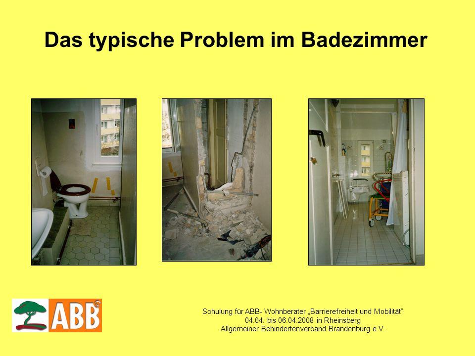 Schulung für ABB- Wohnberater Barrierefreiheit und Mobilität 04.04. bis 06.04.2008 in Rheinsberg Allgemeiner Behindertenverband Brandenburg e.V. Das t