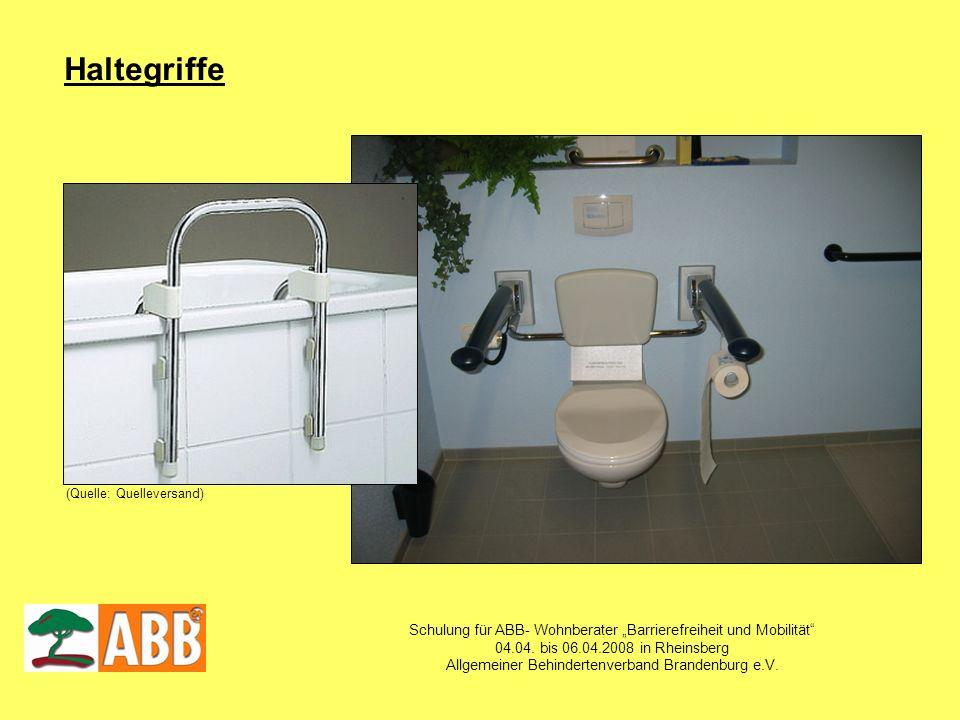 Schulung für ABB- Wohnberater Barrierefreiheit und Mobilität 04.04. bis 06.04.2008 in Rheinsberg Allgemeiner Behindertenverband Brandenburg e.V. Halte