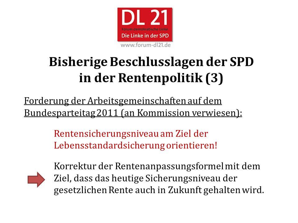Bisherige Beschlusslagen der SPD in der Rentenpolitik (3) Forderung der Arbeitsgemeinschaften auf dem Bundesparteitag 2011 (an Kommission verwiesen): Rentensicherungsniveau am Ziel der Lebensstandardsicherung orientieren.