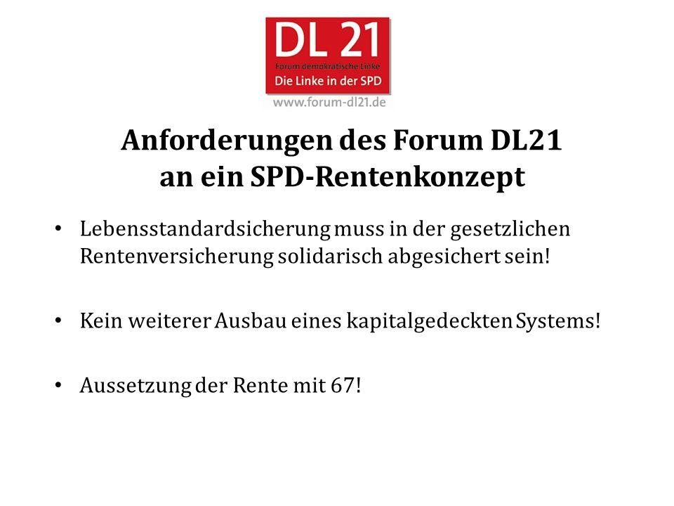Anforderungen des Forum DL21 an ein SPD-Rentenkonzept Lebensstandardsicherung muss in der gesetzlichen Rentenversicherung solidarisch abgesichert sein.