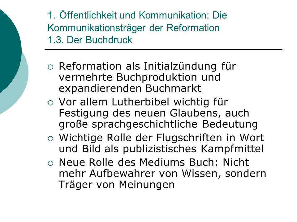 1. Öffentlichkeit und Kommunikation: Die Kommunikationsträger der Reformation 1.3. Der Buchdruck Reformation als Initialzündung für vermehrte Buchprod