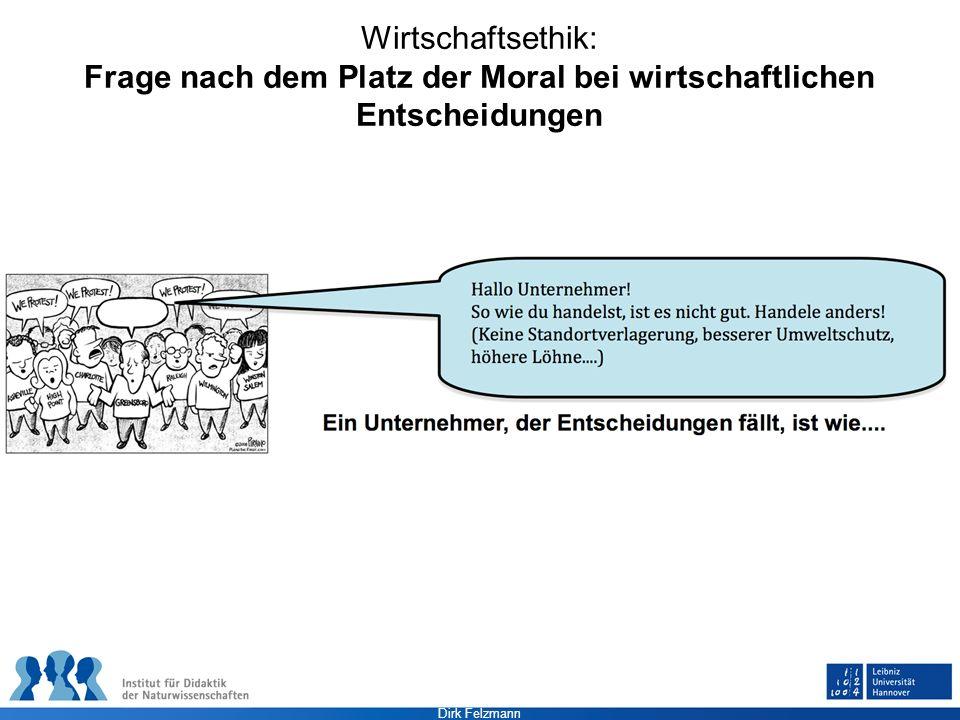 Dirk Felzmann Wirtschaftsethik: Frage nach dem Platz der Moral bei wirtschaftlichen Entscheidungen