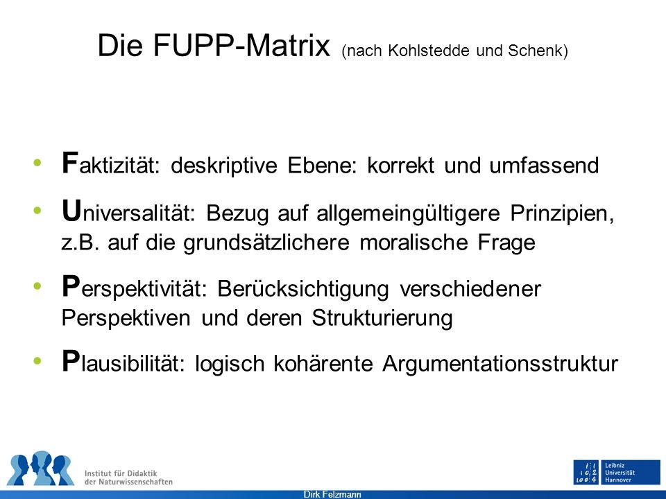 Dirk Felzmann Die FUPP-Matrix (nach Kohlstedde und Schenk) F aktizität: deskriptive Ebene: korrekt und umfassend U niversalität: Bezug auf allgemeingü