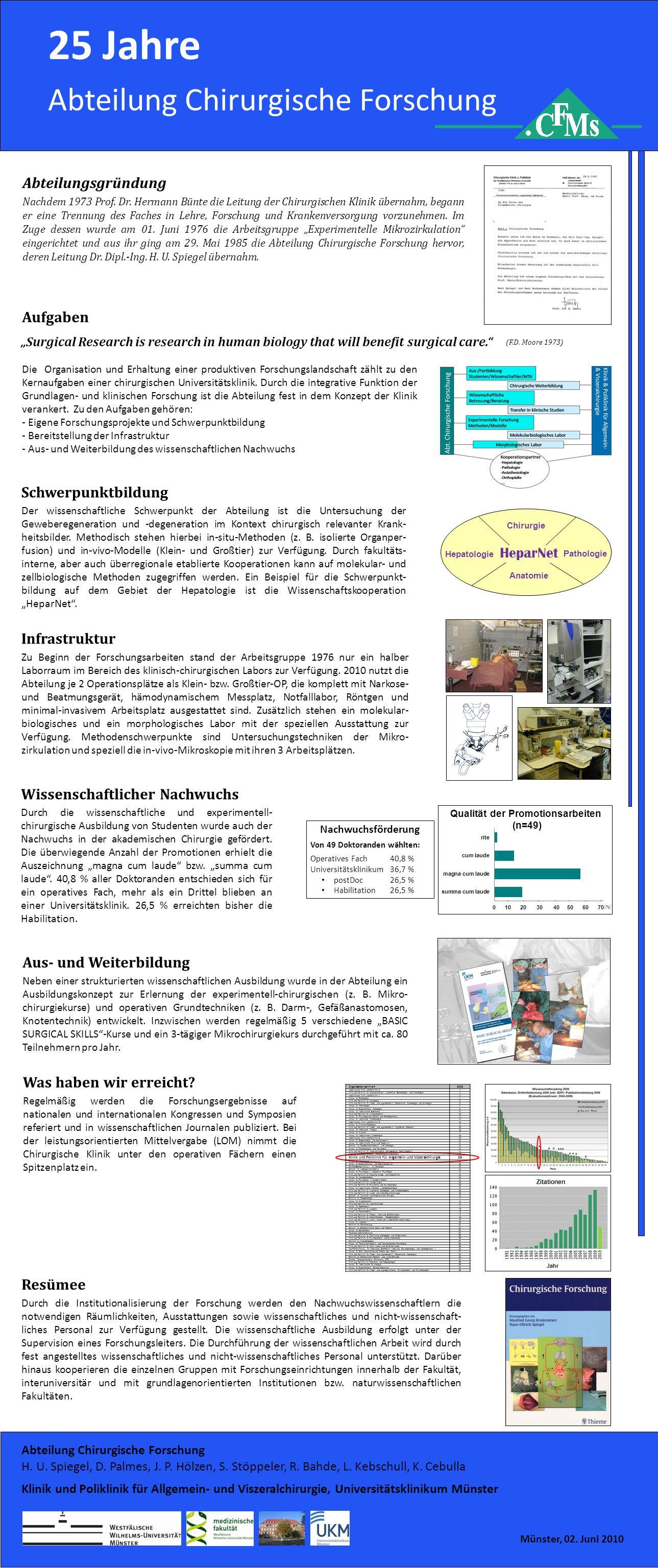 * * * *** * * ** 50 Jahre Chirurgische Forschung in Deutschland 25 Jahre Abteilung Chirurgische Forschung Abteilungsgründung Nachdem 1973 Prof.