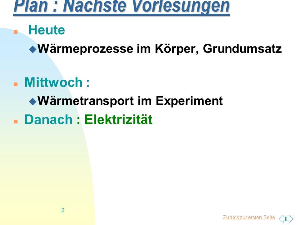 Zurück zur ersten Seite 2 Plan : Nächste Vorlesungen Heute Wärmeprozesse im Körper, Grundumsatz Mittwoch : Wärmetransport im Experiment Danach : Elekt